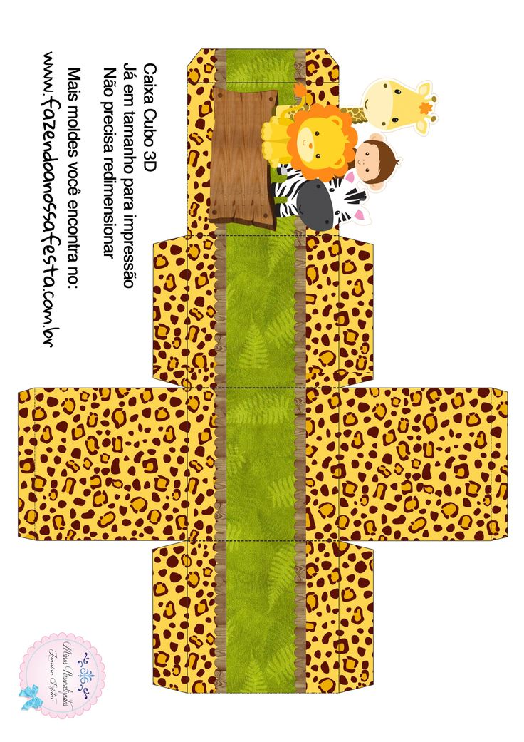 Caixa Cubo 3D Safari