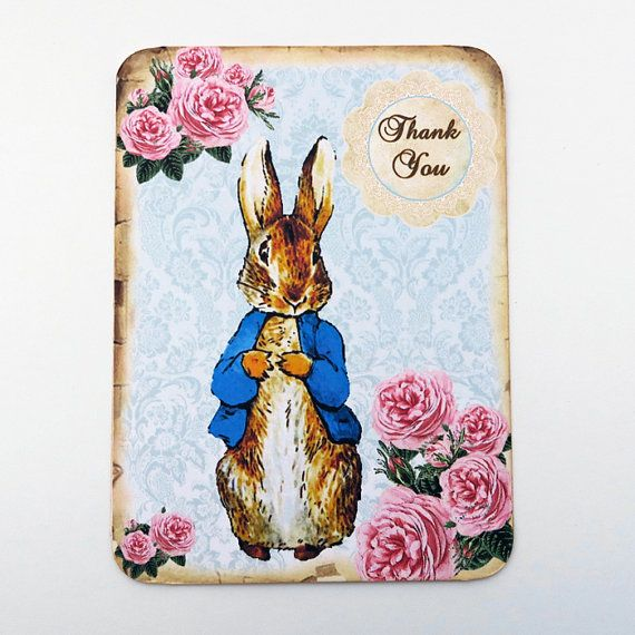 Peter Rabbit Note Cards Thank You Blank Note by EnchantedQuilling