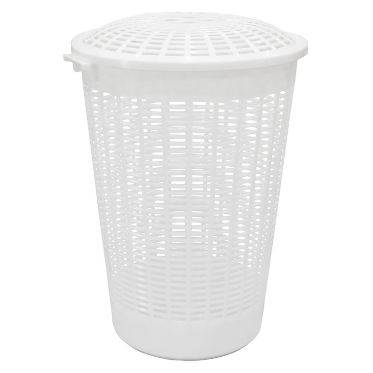 HomeLeisure Trend 62L White Laundry Hamper with Lid