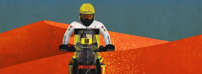 Dakar Rally 2015 racer Stefan Svitko  representing Slovakia. Equipped by Slovnaft. Illustration by Jan Sramek