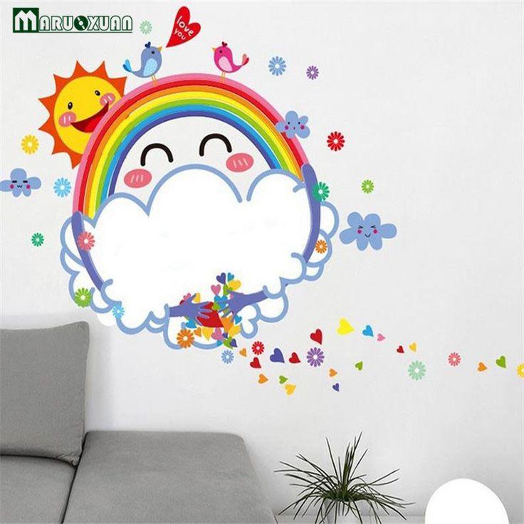 YunXi Rainbow Sun Whiteboard Sticker Cartoon Kids Room Teacher Bedroom Background Decorations Removable Wall Stickers #Affiliate