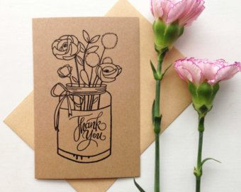 Thank You Cards Floral, Thank You, Cards for Wedding, Thank You Cards Wedding, Thank You Notes, Mason Jar Wedding, Rustic Thank You Cards