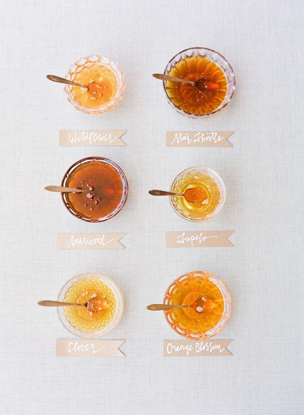 Southern wedding - honey tasting ideas Love the neutral grey backdrop