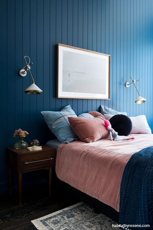 Bedroom Blue Bedroom Dark Blue Paint Childrens Bedroom Interior - Blue-bedroom-interior