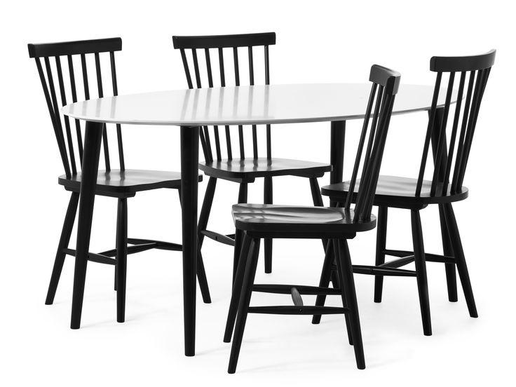 Plaine matbord med skiva i lättskött vitlack, inkl. Nils stolar. Plaine är vår moderna klassiker som aldrig går ur tiden.