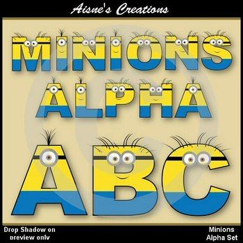 Minions Alpha & Numbers Clip Art Set