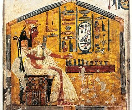 Egypt, Thebes (UNESCO World Heritage List, 1979) - Luxor - Valley of the Queens. Tomb of Nefertari. Detail of antechamber frescoes, Queen Nefertari playing Senet.