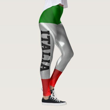 Italian Flag ITALIA Custom Fitness Leggings  $59.95  by GiftsWithPatterns  - custom gift idea