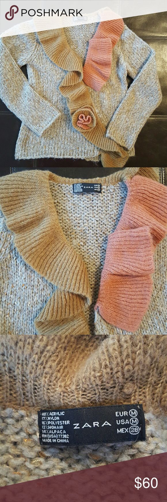 Zara cardigan❄❄ I am seling this stunning, chunky Zara cardigan / sweater.  Definitely not your ordinary sweater that you see evry day . Colors and style match perfectly, Zara did it again an outstanding job . Very worm and cozy  Absolutely great condition Zara Tops
