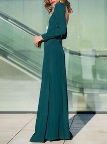 Green Teal Promdress Long Sleeve Backless Split Maxi Dress -SheIn(Sheinside)