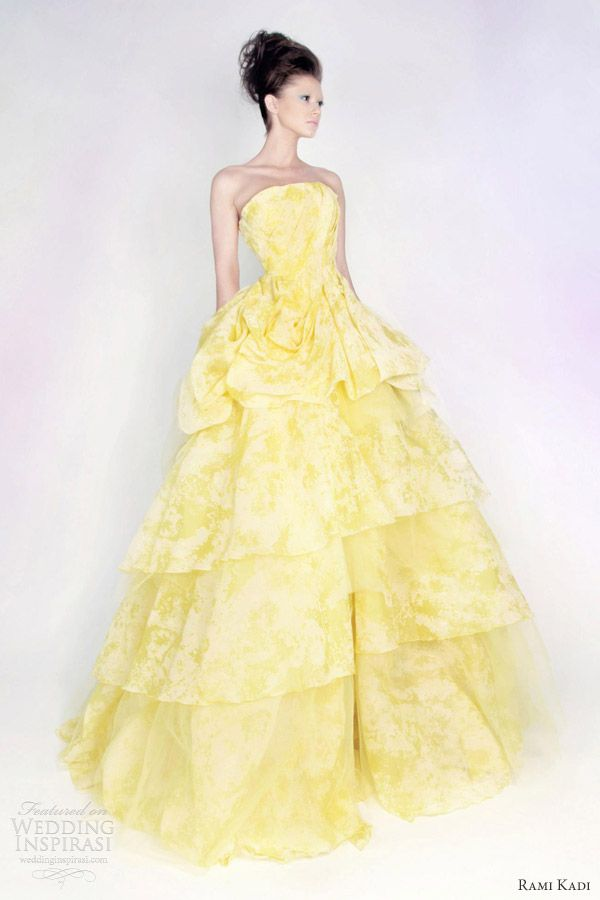 rami kadi spring 2013 color wedding dress floral print yellow lime ball gown