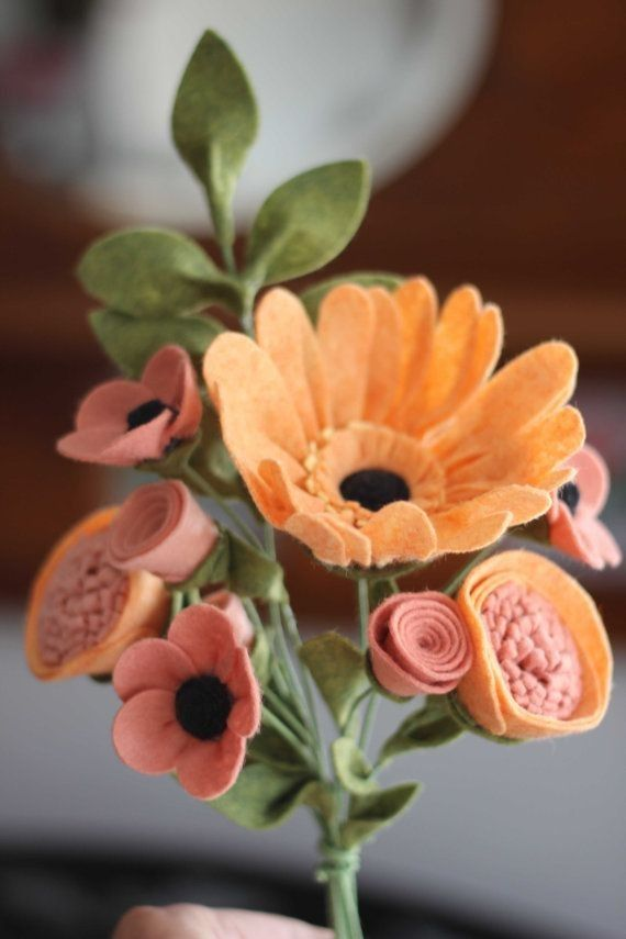 diy pretty Felt Flower with leaf - Orange and Pink, Featuring decoration