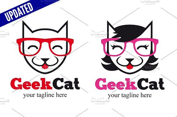 Geek Cat - Male & Female by doghead on @creativemarket