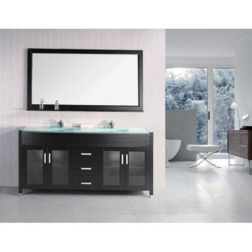 Waterfall Dark Espresso 72 Inch Double Sink Vanity Set Design Element Vanities