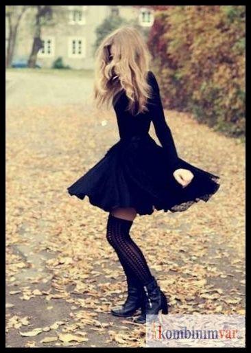 Long sleeve black dress- Uzun kollu siyah elbise #elbise #moda #kombin #siyah elbise #black #dress #blackdress #longsleevedress