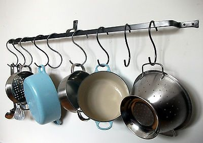 Long hanging pot rack pan kitchen iron wall mounted for Kitchen s hooks for pots and pans