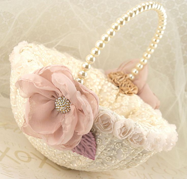 Flower Girl Baskets | Flower Girl Basket Bridal Basket in Ivory Blush Pink, Gold, Lilac and ...