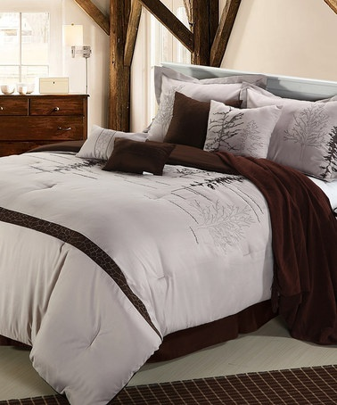 Brown Amp Mauve Katherine Queen Comforter Set Home Design