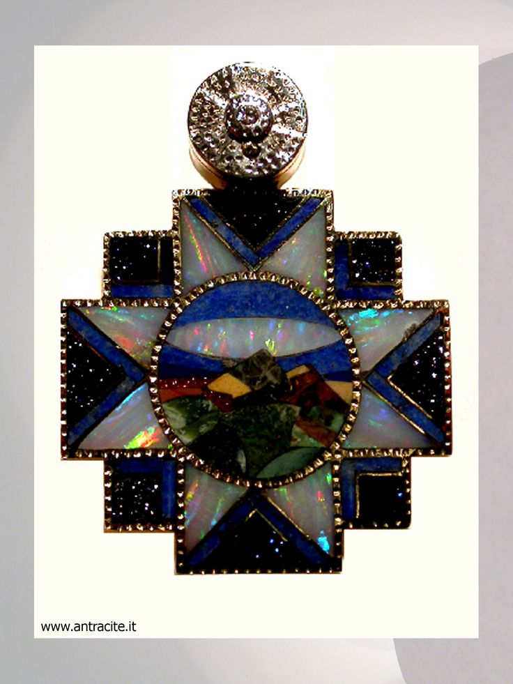 Water - pendant in yellow gold 750/1000, inlay of opals and semi precius stone, diamond