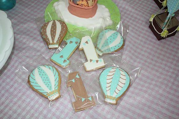 sukielan Cookies Balloon Biscoitos balão verde e marrom