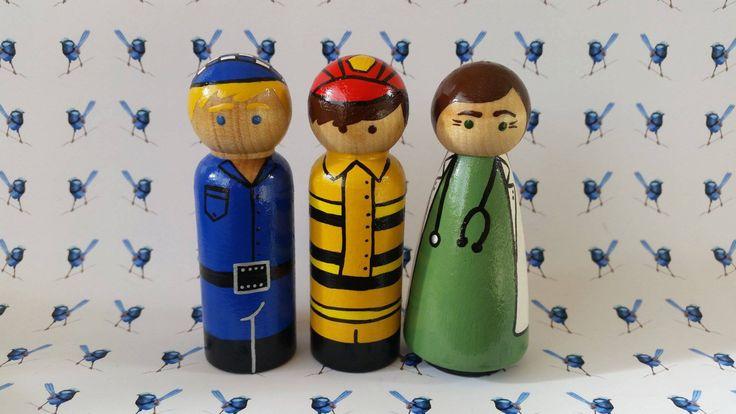 Wooden Peg Dolls - Fireman, Doctor/Vet, Policeman by bluewrenstudios on Etsy