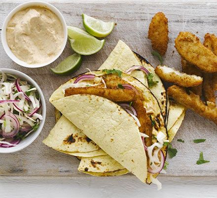 Serve lemon sole goujons in Mexican-style soft corn tortillas with red onion, cabbage and coriander salad and chipotle mayo
