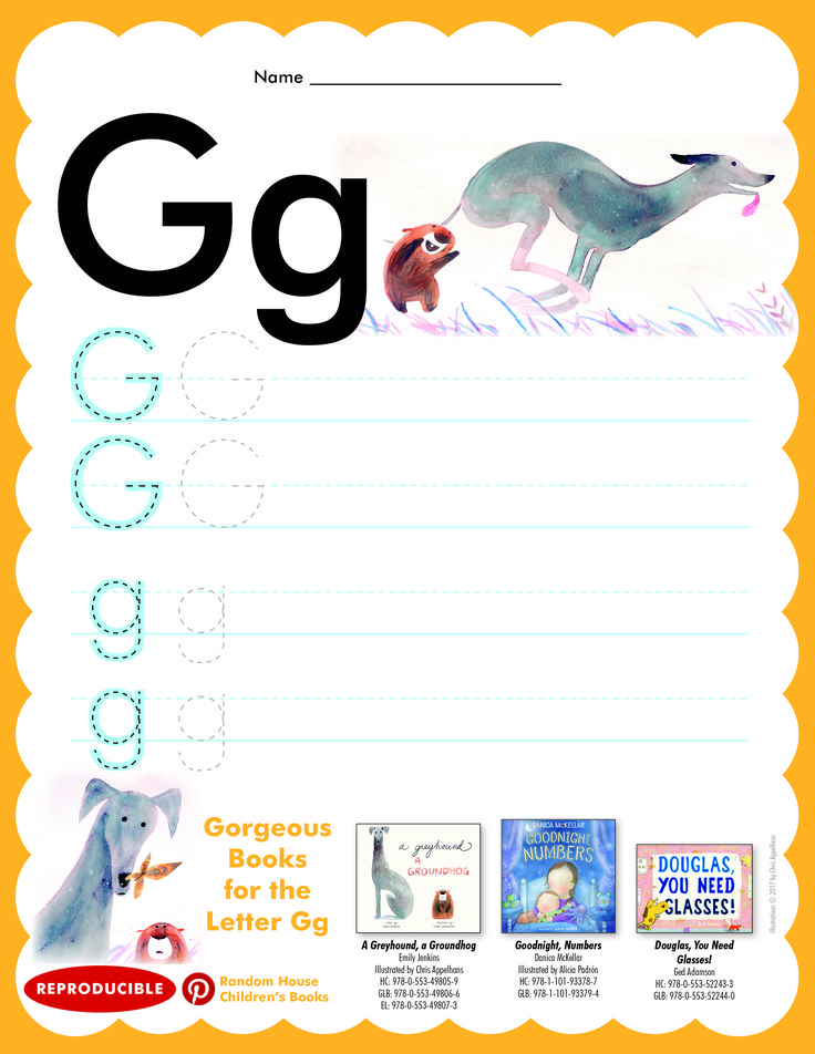 Have students practice writing letter Gg. Then read A GREYHOUND, A GROUNDHOG; GOODNIGHT, NUMBERS; and DOUGLAS, YOU NEED GLASSES.