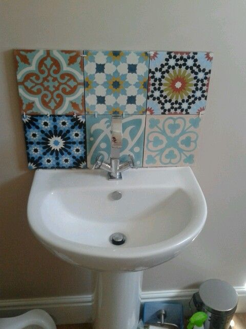 moroccan style tiles, moroccan touch without the cost- just 6 tiles as a splashback