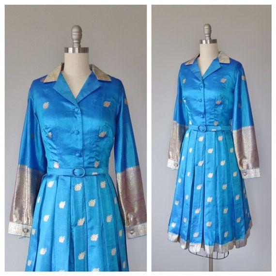 60s Indian silk dress size small  medium / by SwanSongVintage1