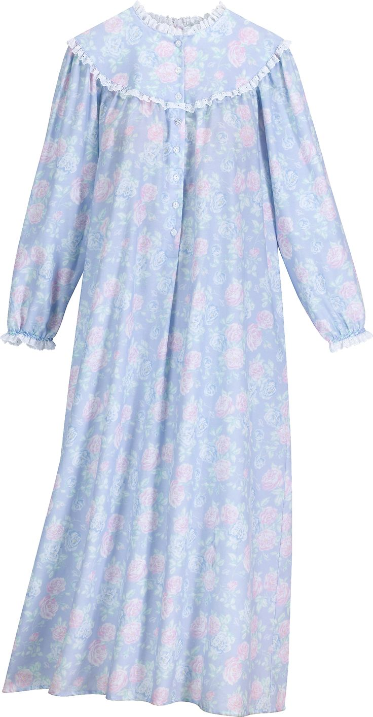 Lanz Nantucket Rose Full Length Flannel Nightgown In 2019