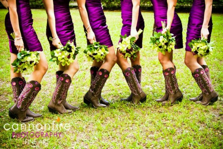 lOVE that the boots color accents match their dresses.
