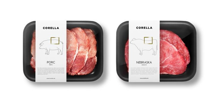CORELLA is a small store in Spain specializing in selected meats and cheeses. Fauna was tasked with redesigning their identity and packaging. They created a minimal design using only black and white as their choice of color, highlighting the meat and cheese through the package: a small illustration is added to each label to reference the selected meat or cheese. Overall, the design conveys a strong unified and clean look.