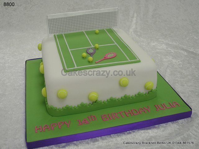 Tennis Court Cake  http://www.cakescrazy.co.uk/details/tennis-court-tennis-racquets-cake-8800.html
