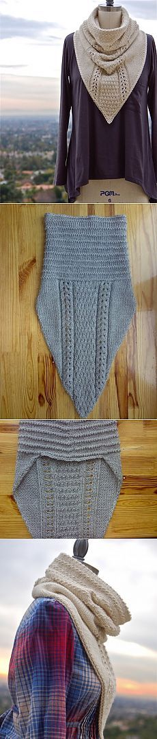 Cowl with triangle drop front.
