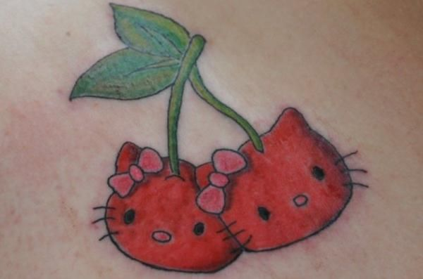 Hello Kitty Tattoo Designs | Crazy Hello Kitty Tattoo In Cherry Design