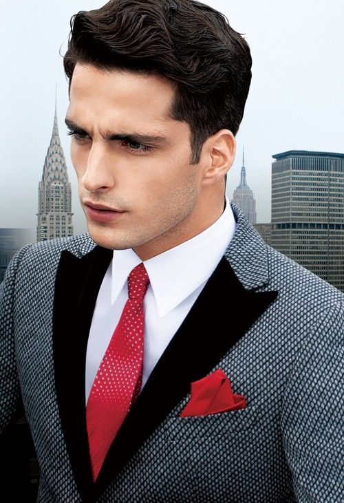An amazing combination of grey suit with a bold red tie. Perfect for holiday mixer or after 5 Corporate event. www.designerclothingfans.com