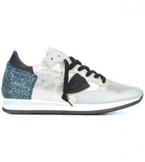 PHILIPPE MODEL - Sneakers basse glitterate argentate e nere Tropez da donna