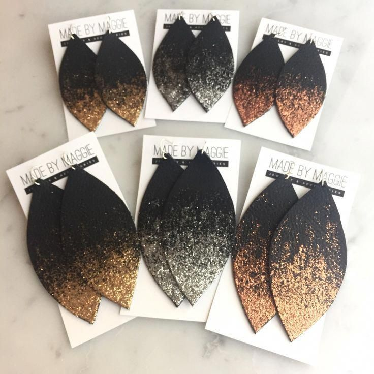 Leather Earrings Small Circle Die Cut 12pk Gold Glitter on Suede DIY