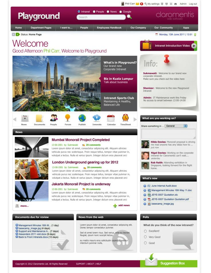 mixing social and productivity enhancing tools with this beautiful intranet design - Sharepoint Design Ideas