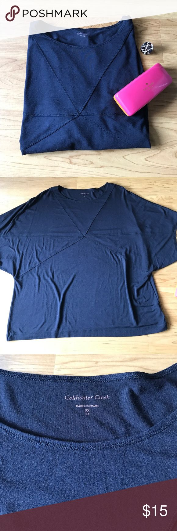 """Coldwater Creek Navy Top sz 3X Batwing Sleeve EUC Coldwater Creek Batwing Top size 3X. Navy Blue Acoop Neck top. Approx 26"""" at Waist & 30"""" long. Materials Rayon & Spandex. Tons of stretch. Very flattering for the summer!! 🦊 10% off 2 or more items in my closet. Bundle & Save with my other listings! 🦊 Coldwater Creek Tops"""