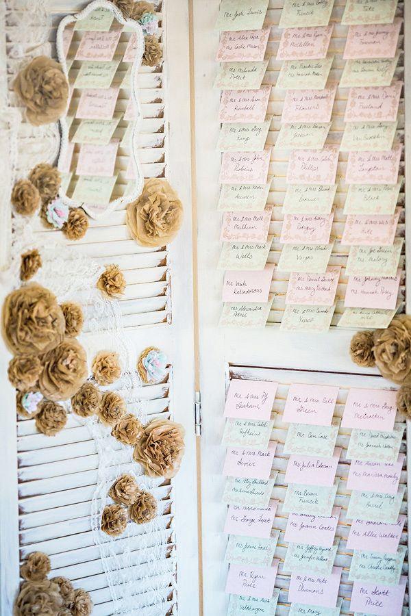pink and green escort card ideas http://www.weddingchicks.com/2013/09/13/pink-and-mint-wedding/