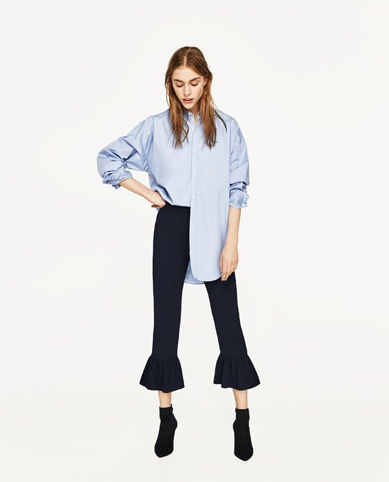 ZARA - WOMAN - FRILLED HEM CROPPED TROUSERS