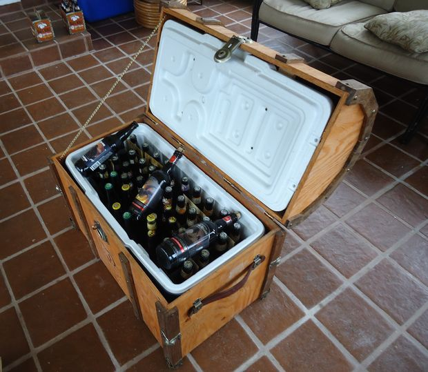 Picture of Pirate Chest Beer Cooler.   This is a must do for the camper.