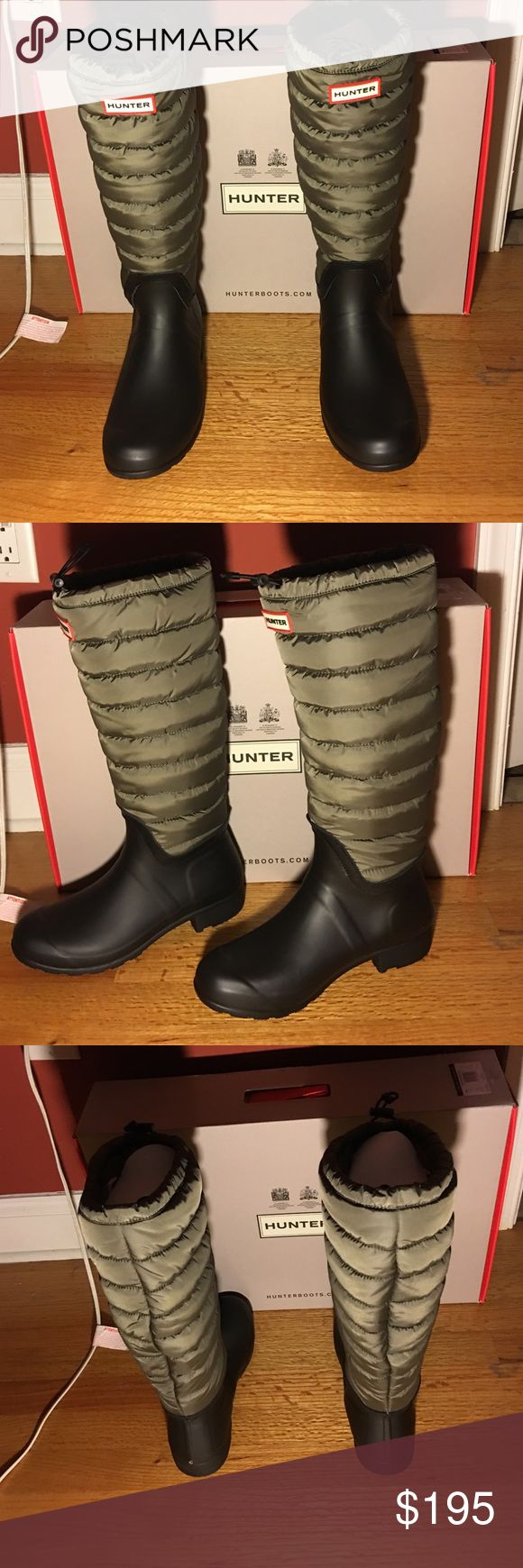 PRICE DROP‼️Hunter Original Tall Quilted BT. Swamp green/black. Brand new in box. Very cute warm boot. Sold out in stores. You can throw these boots over any piece of clothing. Size 9 US. Paid retail at Nordstrom. Will discount about $35-45 at most, as Posh takes a big chunk as is! These are all sold out!!! Especially this size(: I've discounted $60, so price is now firm. Thank you ladies Hunter Boots Shoes Winter & Rain Boots