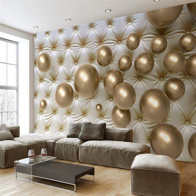 Росписи для Гостиной Золотой Мяч Soft Pack Murales Де Сравнению Обои Hotel Спальной Комнаты Современный Фон Большая Картина
