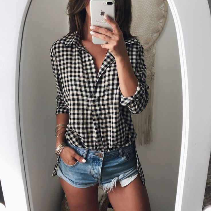 Hamptons Plaid Collared Blouse