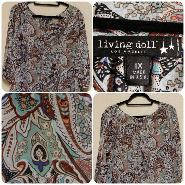 Living Doll Women's Plus Size Paisley Print Sheer Blouse Size 1X 3/4 Sleeve ACAF #LivingDoll #Blouse #Casual