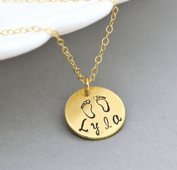 SALE 10% New Mommy Necklace, Baby Foot Necklace, Name Disc Necklace, Personalized Disc Necklace, New Mom Jewelry, Gift For New Mom by malizbijoux. Explore more products on http://malizbijoux.etsy.com