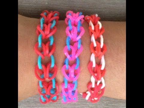 Hoe maak je een armband met hartjes van Rainbow Loom bandjes, een Loom bord en een haakpen?