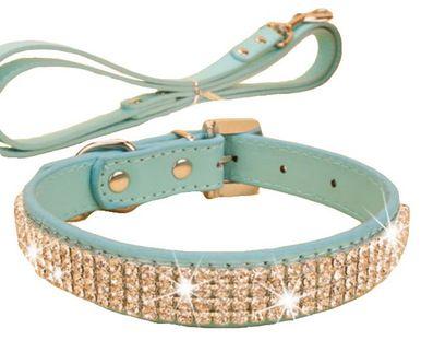 Rhinestone Pet Collars - Dog Leashes - Pet Supplies -- Rhinestone Blue
